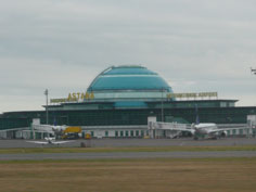The main terminal of Astana International Airport, located 15km south of Astana