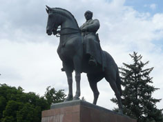 Giant monument in the city centre of Bishkek depicting Mikhail Frunze looking down on the spectators from his horse