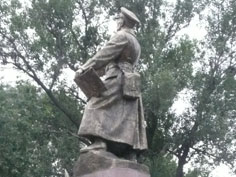 Monument dating to 1942 in honor of Kyrgyz and Soviet World War II hero Ivan Panfilov