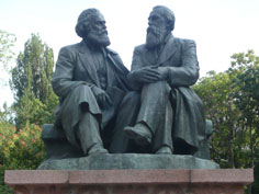 Monument of Karl Marx and Friedrich Engels in Oak park, that was placed to replace a Stalin monument