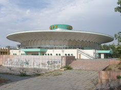 The Disc shaped Bishkek circus built in 1976 by architect L.Segal, V. Shadrin and A. Nezhurina