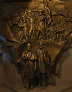 Artwork depicting Marx and Engels in the Bishkek Lenin museum