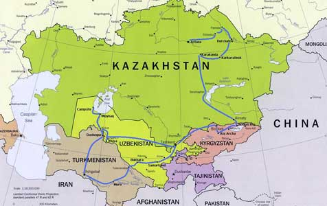 Map of the route we travelled trough Central Asia in 2009