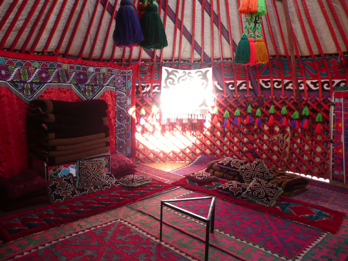 Interior of a typical Kyrgyz yurt, the tent that was used by this nomadic people for centuries
