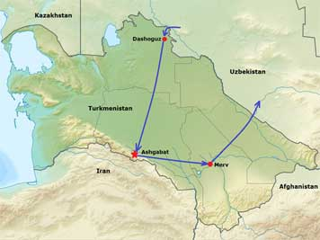 Map of Turkmenistan with the places we visited including visiting Dashoguz, the capital Ashgabat and the desert city Merv