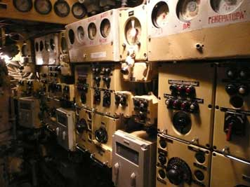 Control panels for each of the three submarine diesel engines