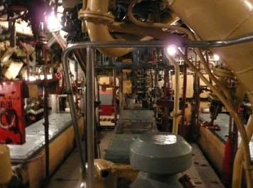The diesel engine room with the three diesel engines visible