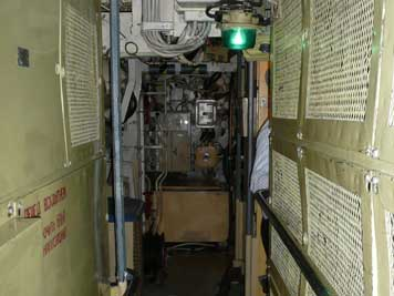 Corridor between the batteries in the B-515 electric engine room