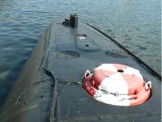Hatch to load torpedo's on the stern of the B-515 Tango submarine