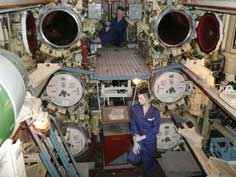 Torpedo launch tubes in the front torpedo room of the B-515