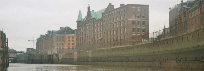 Warehouses in Hamburg seen from the water during a port tour