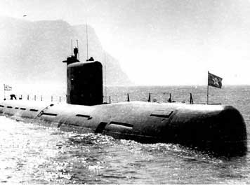 Soviet Tango class submarine on the service in calm waters