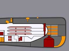 Technical drawing of the torpedo room section of the B-515