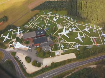 An areal photograph of Flugausstellung L+P Junior showing the many aircraft on display on the outdoor exhibition area