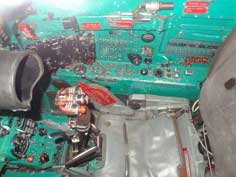 The ejection seat, control stick and many instruments of the MiG-21SPS displayed in the Flugausstellung L+P Junior