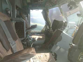 Cockpit of the Mil Mi-14PL that was armed with a torpedo, nuclear debt bombs and eight dept charges