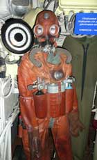 Soviet navy diving suit displayed in the B-413 Foxtrot submarine