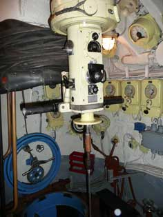 Periscope room inside of the sail of the B-413 Foxtrot submarine