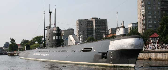 Foxtrot class submarine seen from the Pregol river in Kaliningrad