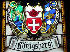 Koningsberg Coat of Arms on stained glass window of the cathedral