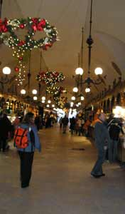 Tourists can buy souvenirs inside the renaissance Cloth Hall on the centre of Krakow's Main Market Square