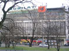 Jubilat Department Store is located on the Vistula River Bank and a good place for a coffee or some shopping