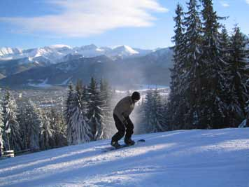The beautiful Tatra mountains are only two hours driving from Krakow and are a great place for snow boarding