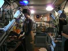 The field repair shop equipped with machine tools inside URAL-4320