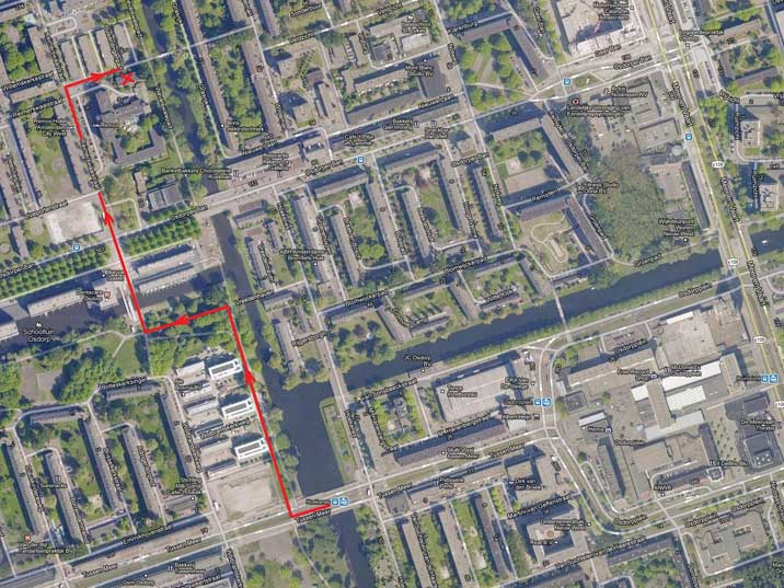 Map of the location of Restaurant Pyongyang in Amsterdam Osdorp, route from the tram stop Hoekenes stop to the restaurant