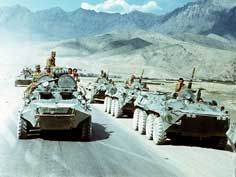Mechanised Red Army units in the mountains of Afghanistan