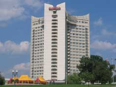 The giant Soviet era Belarus Hotel in where we stayed in Minsk