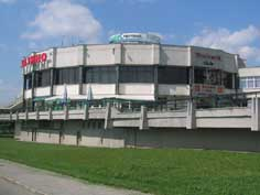 The round nightclub of the Belarus Hotel called the hockey puck