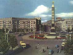 The Victory Column in Minsk photographed during the fifties
