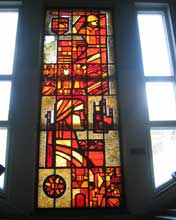 Stained glass window in the Belarusian Great Patriotic War Museum