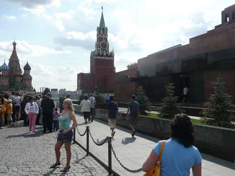 The Lenin mausoleum is still a popular tourist attraction today