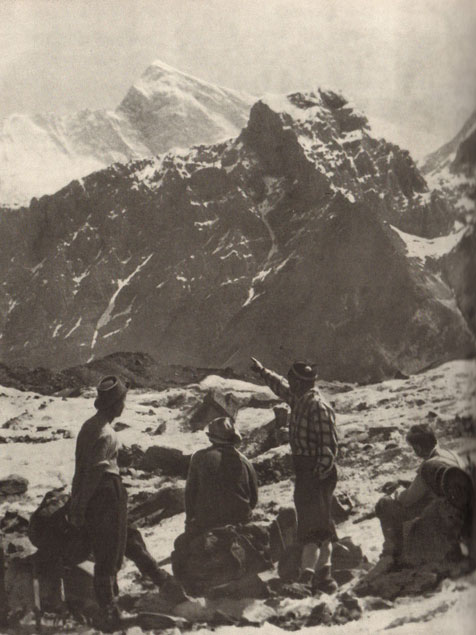 Communism Peak of the Pamir mountains, earlier called Stalin Peak and  today called Ismoil Somoni Peak, viewed by Soviet mountaineers in  the 1960s