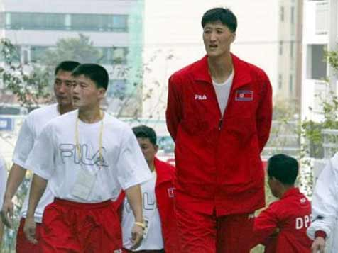 North Korean basketball player Ri Myung Hun stands at 2.35m and was once the talles man in the world