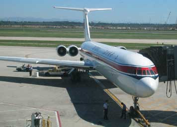 Our Air Koreo Ilyushin Il-62 aircraft at the gate in Beijing