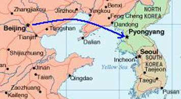 Map of the distance between Beijing and the North Korean capital