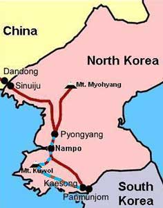 Map of the route back from Kaesong to Pyongyang via Nampho