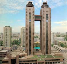 The luxurious Koryo Hotel for foreign tourists in Pyongyang