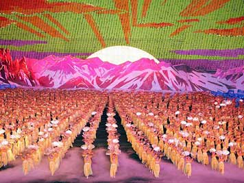 Colourful Mass games in the giant Mayday Stadium of Pyongyang