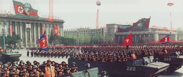 Military parade in on Kim Il Sung Square during a national holiday