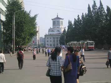A Czech build Tatra tram near the Pyongyang train station