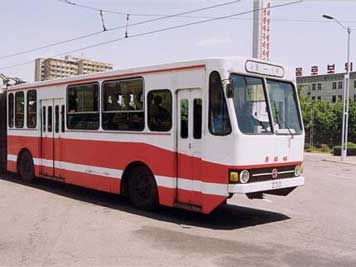 DPRK manufactured Trolley Bus in the streets of Pyongyang