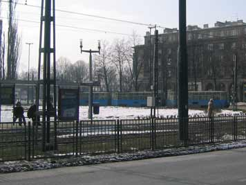 Tram line 4 from the Krakow city Centre stops on the tram circuit adjacent to Central Square in Nowa Huta
