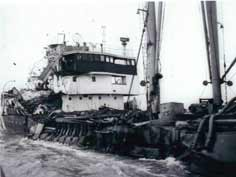 Heavily damaged OKA f18 after the collision with a Liberian motor ship