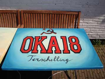 Painted OKA 18 table in this case with a Soviet hammer and sickle