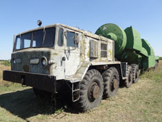 Maz 537 tanker truck with ZATs-2 configuration, used for fueling missiles with the rocket propellant component hefty