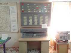 Security monitoring equipment for the missile base, with monitors connected with security cameras around the base